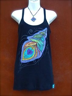 Black TANK PEACOCK FEATHER tank top hand painted clothes bohemian clothing Cotton tank top Women tank size L applique via Etsy