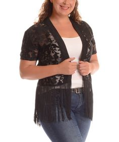 Another great find on #zulily! Black Sheer Lace Open Cardigan - Plus by Shoreline #zulilyfinds