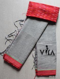 Handloom soft cotton saree Cotton Sarees Handloom, Khadi Saree, Saree Blouse, Ethnic Fashion, Asian Fashion, Anarkali Gown, Plain Saree, Ethnic Print, New Love