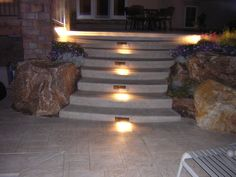 cement steps | Stamped Concrete Decking and Stairs with Lighting, Highlands Ranch, CO