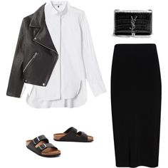A fashion look from August 2014 featuring Rebecca Taylor blouses, rag & bone skirts and Birkenstock sandals. Browse and shop related looks.