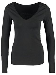 Basic Damen Shirt Longsleeve V-Ausschnitt langarm Basic black
