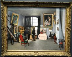 Frederic Bazille (1841-70) - L'Atelier de Bazille, 1870. The artist (killed in the Franco-Prussian War a few months later) stands by the easel with Edouard Manet to his immediate left