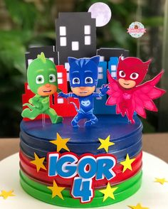 Pj Masks Birthday Cake, Superman Birthday Party, Baby Boy 1st Birthday, Mickey Birthday, 3rd Birthday Parties, 4th Birthday, Festa Pj Masks, Party Themes For Boys, Mask Party