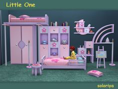 Set for toddlers. Has4 color variations, includes 14 functional and decorative items. Found in TSR Category 'Sims 4 Kids Bedroom Sets'