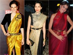 Give a complete new look to your traditional #sarees by wearing stylish belts on it.  #belts #designersarees