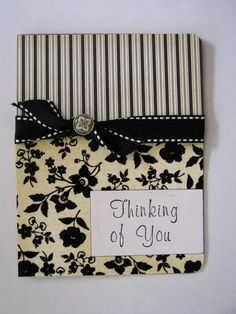 Handmade Card - I like the two separate papers with ribbon houses facial mask handmade button piercing halloween cards Handmade Greetings, Greeting Cards Handmade, Oyin Handmade, Handmade Home, Handmade Crafts, Handmade Jewelry, Paper Basket, Handmade Knives, Scrapbook Cards