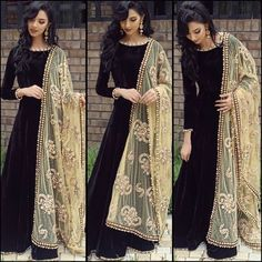 Indian Bollywood Ethnic Designer Anarkali Salwar Kameez Suit & Traditional HBJP in Clothes, Shoes & Accessories, Women's Clothing, Other Women's Clothing Indian Attire, Indian Wear, Black Indian Gown, Pakistani Outfits, Indian Outfits, Pakistani Party Wear, Asian Fashion, Look Fashion, Punjabi Fashion