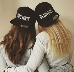 Retro Styles Blondie brownie SnapBack hat - super cool blondie brownie SnapBack hat embroidery style text choose from blondie or brownie or pair up with your bff or sister for a cute gift idea! Best Friend Pictures, Bff Pictures, Friend Photos, Best Friend Fotos, Best Friend Outfits, Best Friend Stuff, Shooting Photo Amis, Photos Bff, Bff Pics