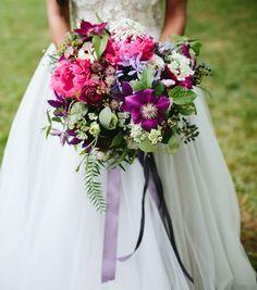 Textural purple bouquet for the bride