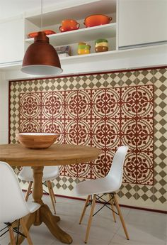 Handmade tiles can be colour coordinated and customized re. shape, texture, pattern, etc. by ceramic design studios Interior Architecture, Interior And Exterior, Interior Design, Feature Wall Design, Feature Tiles, Patchwork Tiles, Handmade Tiles, Moroccan Decor, Stone Flooring