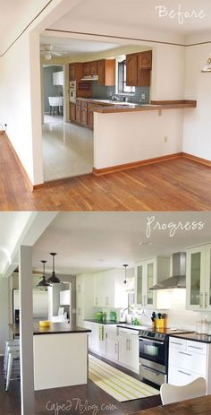 kitchen before and after. love the open feel.