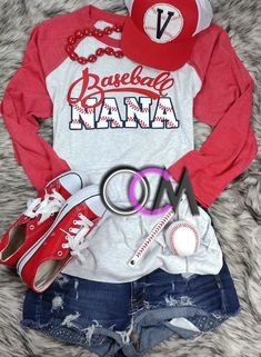 Baseball Nana Shirt, Baseball Grandmother Shirt, Ladies Baseball Nana Shirt, Grandma Baseball Shirts- Raglan - One Crafty Momma Baseball Mom Shirts, Baseball Game Outfits, Baseball Sister, Nana T Shirts, Softball Mom, Sports Shirts, Baseball Shirt Outfit, Baseball Tips, Baseball Stuff