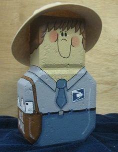 Postman Paver - cute sitting beside mailbox Painted Bricks Crafts, Brick Crafts, Tile Crafts, Concrete Crafts, Painted Stepping Stones, Painted Pavers, Paver Stones, Painted Pebbles, Cement Pavers