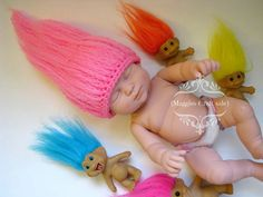 Crochet Troll hair wig beanie/prop ****PLEASE READ****  *BABY should be supervised at all times while wearing this product*  Beanie costume prop