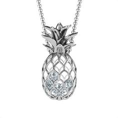 "$159 Sterling Silver Pineapple Cage Necklace with 4 White Swarovski Zirconia Stones on 24"" Chain"