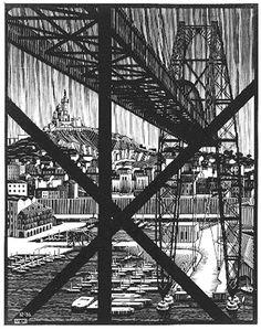 """M. C. Escher- """"Marseilles""""- December 1936, Wood engraving."""