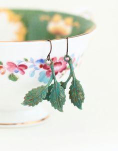Rustic Leaf Earrings Dangle Earrings Sage by JacarandaDesigns