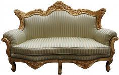 Casa Padrino Barock 2er Sofa Master Jadegrün /Beige / Gold - Wohnzimmer Couch Möbel Lounge Sofas