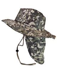 0440b45973e1e Boonie Bush Safari Outdoor Fishing Hiking Hunting Boating Snap Brim Hat Sun  Cap with Neck Flap (Digital Camo