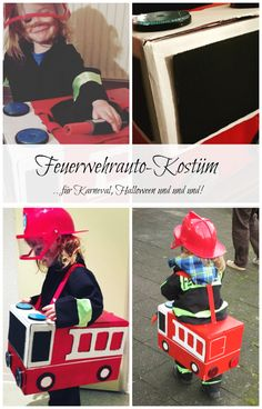 Feuerwehrauto-Kostüm, mit Bastelanleitung Fire engine costume from an old cardboard box. For Carnival, Halloween or just like that. – Fire Truck Costume – www. Crafts For Boys, Diy For Kids, Gifts For Kids, Diy And Crafts, Fireman Crafts, Puppets For Kids, Old Boxes, Wholesale Bags, Backyard For Kids