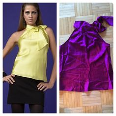 HP! INC silk tie halter top Beautiful and vibrant purple silk halter top. Lined, 100% silk, wrinkly from being in a drawer! Excellent used condition. 23 inches from neck to bottom, 17 inches from armpit to armpit. INC International Concepts Tops