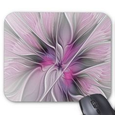 Floral Fractal Modern Abstract Flower Pink Gray Mouse Pad - flowers floral flower design unique style