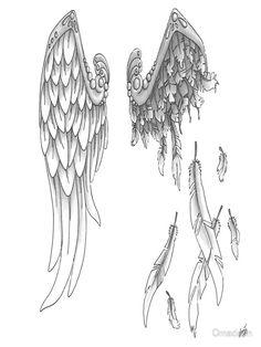 """Broken Angel"" Art Prints by Omadaun Cross With Wings Tattoo, Broken Wings Tattoo, Angel Wings Tattoo On Back, Angel Tattoo For Women, Angel Wings Drawing, Wing Tattoos On Back, Tattoos For Women, Tattoo Drawings, Body Art Tattoos"