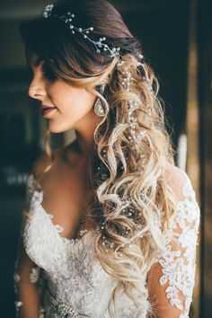 Ethereal Structured Down Wedding Hairstyle with Crystal and Pearl Accents