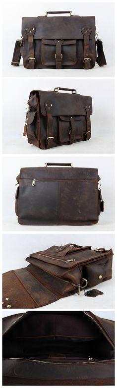 Men Briefcases Laptop Bag Vintage Style Cross Body Messenger Bag Cowhide Leather New Arrival