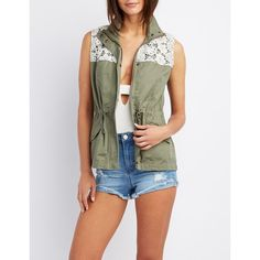 Charlotte Russe Crochet-Trim Utility Vest ($37) ❤ liked on Polyvore featuring outerwear, vests, olive, olive green vest, zipper vest, army green vest, army green utility vest and olive vest