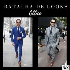 BATALHA DE LOOKS   TERNO AZUL X TERNO CINZA Breast, Suit Jacket, Suits, Jackets, Wedding, Fashion, Electric Blue Suit, Battle, Gray