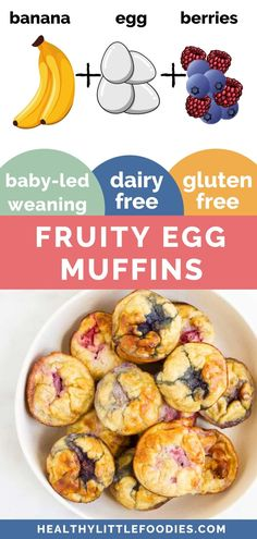 Baby Led Weaning Breakfast, Baby Led Weaning First Foods, Baby Breakfast, Baby First Foods, Weaning Toddler, Breakfast Muffins, Baby Lef Weaning, Breakfast Ideas, Healthy Toddler Breakfast