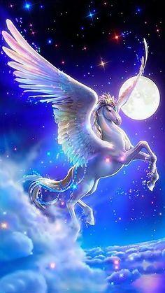 GBP - 049 Any Name Pegasus Horse Daughter Grandaughter Niece Sister Mum Friend Son Dad & Garden Unicorn Fantasy, Unicorn Art, Cute Unicorn, Unicorn Images, Unicorn Pictures, Unicornios Wallpaper, Galaxy Wallpaper, Magical Creatures, Fantasy Creatures