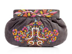 Velvet Embroidered Clutch by Moyna