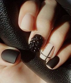 Black and nude matte #nails #manicure