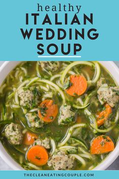 This Healthy Italian Wedding Soup is the perfect cozy, easy dinner. This soup is gluten free, grain free and dairy free but packed with turkey meatballs and veggies! Low carb and delicious - you can make this soup in your crockpot or on the stovetop! This is a clean eating recipe everyone will love #whole30 #soup