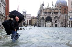 Flooding at Mark's Square, Venice, Italy. Flooding peaks at 150 cms  AFP: Marco Sabadin  11/11/2012