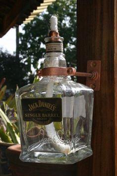 Jack Daniels Single Barrel, Jack Daniels Bottle, Tiki Torches & Oil Lamps, Liquor Bottles, Liquor Bottle Lights, Great Father's Day Gifts, Outdoor Crafts, Unique Candles, Wine Bottle Crafts
