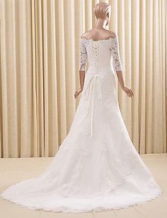 Trumpet / Mermaid Wedding Dress Court Train Off-the-shoulder Lace / Tulle with Appliques / Lace 5103796 2017 – $169.99