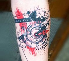 Perfect trash style tattoo idea of Clock motive done by Trudy Lines Tattoo