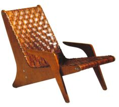 José Zanine Caldas; Plywood and Leather Lounge Chair, 1949.