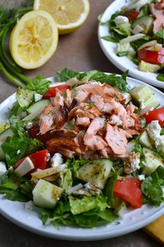 Greek Salmon Salad - this salad is incredibly flavorful and healthy! Had it for lunch today:) Healthy Salmon Recipes, Healthy Salads, Fish Recipes, Seafood Recipes, Salad Recipes, Healthy Eating, Cooking Recipes, Salad Bar, Soup And Salad