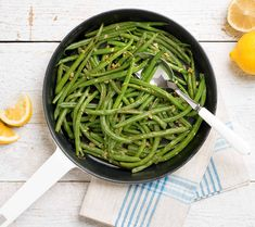This fresh green vegetable dish plays well with any main dish. Main Dishes, Side Dishes, Butter Tarts, Fresh Green, Vegetable Dishes, Yummy Treats, Green Beans, Spinach, Cooking Recipes
