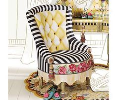 Garden Awning Vanity Chair - $2,950 - Storybook style that's sunny, smart, and bold. Hand-painted canvas seat panel, adorned with roses, accents a bold black and white woven stripe seat and arms, and tufted seat back in fresh yellow and white harlequin diamonds. Hand-painted feet and decorative ceramic silk tassels. Pair with our Garden Awning Vanity Table and Rosie Rug for a look that is too terrific.