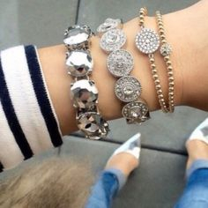Silver Metallic Bracelet This bracelet is a brand new retail item! We only use the highest quality crystals & stones for all of our jewelry, giving our pieces lots of sparkle and an expensive look! Every piece has been given the upmost time and care when created and has been made and designed with quality and durability in mind. Every piece is nickel and lead free. Almost every item is an exclusive item; meaning once sold its gone for good. Jewelry Bracelets