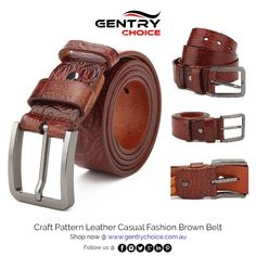 "✔️ Men's Genuine Leather Top Quality Craft Pattern Casual Fashion Brown Belt ✔️ High Quality and Fast Delivery 🌐 Shop now @ ""Gentry Choice"" Leather Belts, Cowhide Leather, Belt Shop, Color Crafts, Artificial Leather, Brown Belt, Craft Patterns, Leather Material, Leather Craft"