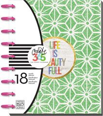 """2015-16 Planner - Life Is Beauty Full Create 365™ - The Happy Planner™ is an expandable, disc-bound planner system that combines your love for creativity with your need for organization. Each 18 month planner features a unique layout with monthly and weekly views. This planner is dated from July 2015 - December 2016 and is filled with creative and inspirational artwork to help make YOU a happy planner! Planner dimensions: Covers - 7.75"""" x 9.75"""" Pages - 7"""" x 9.25"""""""