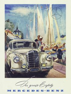 Sailing boats and the Mercedes-Benz 300 (W 186): status symbols of the post-war period in an advertisement from 1951 drawn by Hans Liska. Archive number: 1988M1016 © Daimler AG