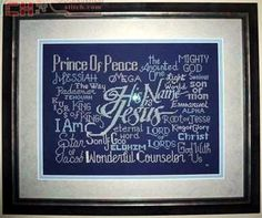 Free Cross Stitch Design His Name is Jesus Cross Stitch Samplers, Anchor Charts, Cross Stitch Designs, Free Design, Sewing Projects, Names, Joyful, Words, Bible